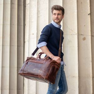 SID & VAIN Reisetasche BRISTOL SIDE Natur-Leder braun Sporttasche Reisetasche