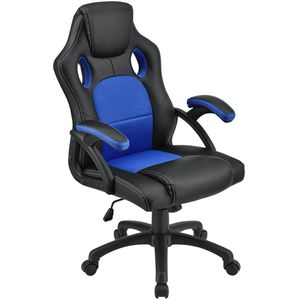 Juskys Racing Schreibtischstuhl Montreal (blau) ergonomisch, höhenverstellbar & gepolstert, bis 120 kg - Bürostuhl Drehstuhl PC Gaming Stuhl
