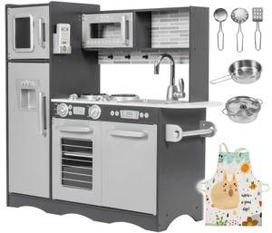 Große Kinderküche aus Holz mit LED-Beleuchtung und Küchenzubehör und Schürze ab 3 Jahre Grau