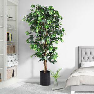 GOPLUS 180 cm Ficusbaum mit Topf, Kunstbaum mit 1008 Blättern und Echtholzstamm, Dekopflanze für Wohnzimmer oder Balkon, Kunstpflanze aus Polyester und Holz, inkl. Topfabdeckung