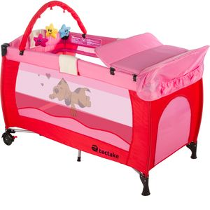 tectake Kinderreisebett Hund mit Wickelauflage - pink