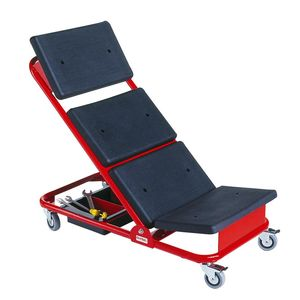 Rollliege mit Kleinteilkasten, höhenverstellbar, rot/schwarz