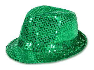 Pailletten Glitzer Hut für Fasching & Karneval, Farbe wählen:grün