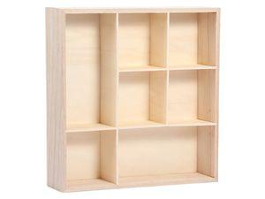 Setzkasten Holz Deko Regal Natur Sammlerkasten, Größe wählen:26cm-26cm-4cm