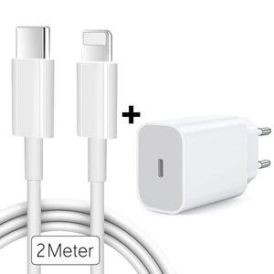 20W Schnellladegerät + 2 Meter USB-C Kabel für Original iPhone 11 / 12 / Pro / Max Ladegerät Netzteil Adapter