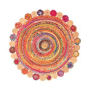 Teppich Morgenland Sisal Jute Rund Naturfaser Boho Einfarbig Uni Kurz Wohnzimmer, Größe:120 x 120 cm Rund, Farbe:Mehrfarbig