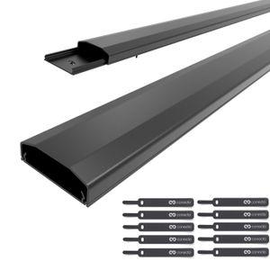 conecto Kabelkanal mit 3M Klebeband selbstklebend selbsthaftend zum Kleben oder Schrauben aus hochwertigem PVC (Länge 100cm, Breite 6cm, Höhe 2cm) schwarz, 2er Pack + 10er Klettkabelbinder