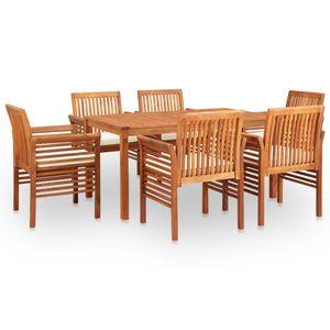 7-teiliges Outdoor-Essgarnitur Garten-Essgruppe Sitzgruppe Tisch + stuhl mit Auflagen Massivholz Akazie