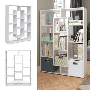 Vicco Raumteiler 11 Fächer Weiß Bücherregal Standregal Wandregal Büro