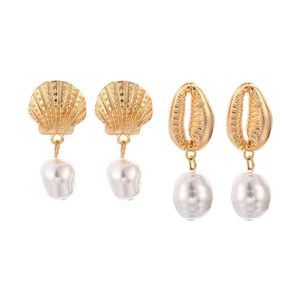 Mllaid 2 Paar Perlen Muschel Set Ohrringe Frauen Stilvolle Muschel Muschel Faux Perle Tropfen Ohr Ohrstecker Ohrringe Golden
