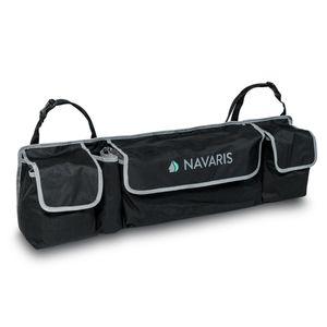 Navaris Auto Kofferraum Organizer Tasche - 89 x 25 x 12cm - 4 Fächer - verstellbare Gurte - KFZ Rücksitz Kofferraumtasche - Kofferraumbox in Schwarz