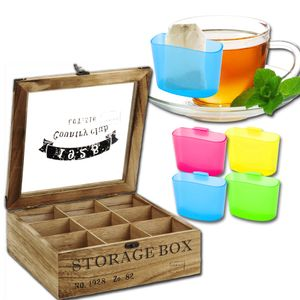 Teekiste 9 Fächer inkl. Teebeutel-Halter Storage Box Teebox Teekasten Tee Aufbewahrung Teedose Holz