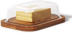 Theo&Cleo Butterdose aus Glas und Bambus, Umweltfreundlicher und nachhaltiger Bambus, Hochwertiger Glasdeckel, Butter Box, 250 g Butter
