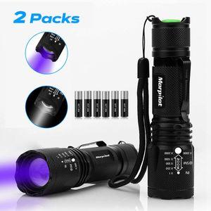 2 in 1 UV Lampe, Morpilot 2 St. Schwarzlicht und Weißes Licht Taschenlampe, 4 Modi, 500lm, 395nm Ultraviolett, Urin von Hunde, Katzen und andere Haustiere (inkl. Batterien)
