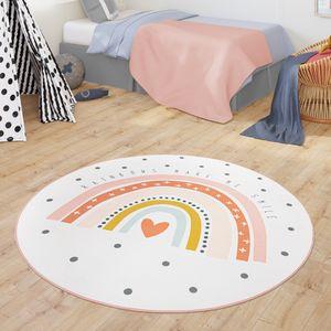 Teppich Kinderzimmer Kinderteppich Babymatte Regenbogen Motiv Mit Herz Design, Farbe:Creme, Größe:Ø 120 cm Rund