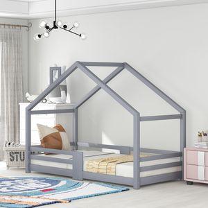Kinderbett Hausbett mit Schornstein   Rausfallschutz  Robuste Lattenroste  Kiefernholz Haus Bett for Kids, 90 x 200 cm ohne Matratze, Grau