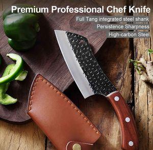 Multifunktionales Küchenmesser und Outdoormesser, Kochmesser gebogener Klinge im schicken Lederetui, Hackmesser