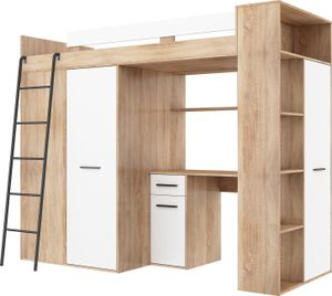 Hochbett VERANA L (Links) Etagenbett Entresole Bett 90x200 Kleiderschrank Regal Treppen SONOMA EICHE / WEIß