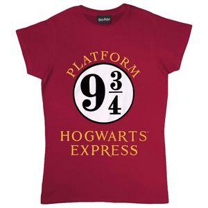 Harry Potter - T-Shirt für Damen PG485 (S) (Burgunderrot/Weiß)
