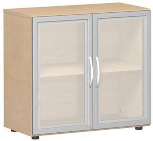 Geramöbel Flügeltürenschrank mit satinierten Glastüren im Holzrahmen, mit Standfüßen, inkl. Türdämpfer, nicht abschließbar, 800x420x752, Buche, S-382800-GTB