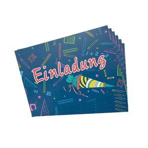 Oblique Unique 6 Einladungskarten für Schuleinführung Schulanfang Einschulung Schulbeginn Einladungen