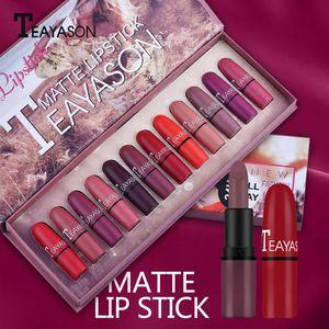 12x Matte Lippenstifte Wasserdichtes, Langlebiges Lippenstift Kosmetik Make Up