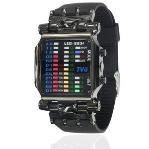 Herren LED Armband Casual Watch Edelstahl Luxus Binäre Armbanduhr