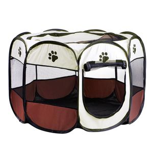 1 x tragbarer Hundekatzenlaufstall Farbe Brown_S