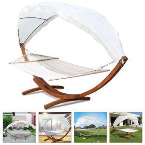 VINGO VINGO Haengematten mit Gestell Holz+Dach Haengematte Haengemattengestell Hammock bis 200kg outdoor 2 Personen