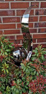 Skulptur Flame Edelstahl schwarz poliert 146 cm Gartenstecker Beetstecker Rosenkugel