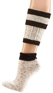 krautwear Herren Trachtenstrümpfe Trachtensocken Loferl 2tlg (Wadenwärmer + Socken) Tweedgarn (braun 43-46)
