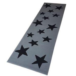 Moderner Läufer Teppich Brücke Teppichläufer Sterne Stars verschiedene Farben ca. 80x250 cm, Größe:80x250 cm, Farbe:grau/schwarz