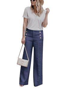 Lässige Damen Hose mit hoher Taille und weitem Bein Damen Plus Size Button Hose,Farbe:Blue,Größe:3XL