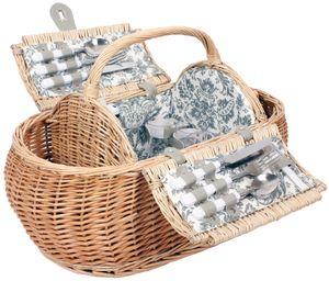 4 Personen Weiden Picknickkorb Picknickkoffer Set mit Kühltasche, Besteck, Weingläsern, Tellern usw.