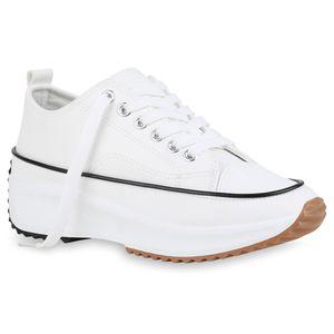 Giralin Damen Plateau Sneaker Keilabsatz Schnürer Profil-Sohle Schuhe 836545, Farbe: Weiß, Größe: 37