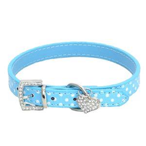 Hundehalsband Katzenhalsband verstellbares Halsband mit Herz Anhänger für kleine Hunde, Welpen und Katzen M 蓝色