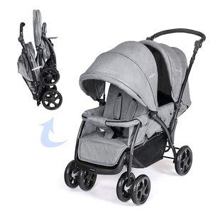 Geschwisterwagen 2 in 1, Doppelkinderwagen Faltbar Zwillingswagen Puppenwagen, Kinderwagen Babywagen mit Doppelsitz, Reisebuggy für Geschwister, Grau