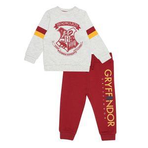 Harry Potter - Hogwarts Crest Trainingsanzug für Jungen PG1089 (80) (Grau meliert/Rot)