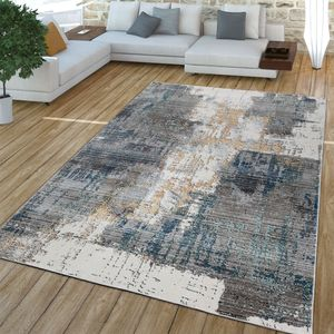 Wohnzimmer Teppich Kurzflor Abstraktes Design Vintage Look, Mehrfarbig Grau Weiß Gelb, Größe:160x230 cm
