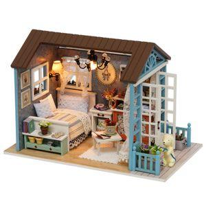 DIY Miniatur Puppenhaus Kit Realistische Mini 3D Holzhaus Zimmer Handwerk mit Moebel LED Lichter Weihnachten Geburtstagsgeschenk