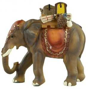 Handbemalte Krippenfigur Elefant mit Gepäck, ca. 12,5 cm, T 001-15