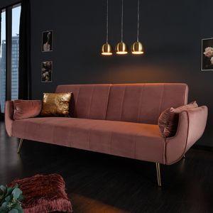 Retro Schlafsofa DIVANI 220cm altrosa Samt goldene Füße Bettfunktion Schlafcouch Schlaffunktion Couch Klappbett