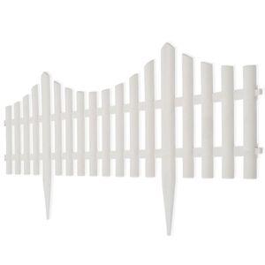 yocmall 17er Set Gartenzaun 10 m Beeteinfassung Beetumrandung Weiß