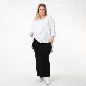 AKH Fashion Basic Rock, Bleistiftrock, schwarz, lang, verschiedene Größen, Lagenlook, Oversize