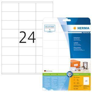 Etiketten Premium A4, weiß 70x36 mm Papier matt 600 St.