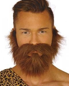 Brauner Vollbart mit Schnurrbart als Kostümzubehör für Fasching, Karneval, Halloween & Motto Party