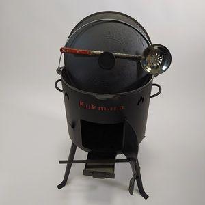 Utschak mit Kazan Gusseisen 15L Schaumlöffel 50 cm Feuertopf für Wok 15 Liter