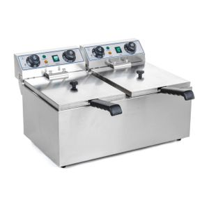 Royal Catering Elektro Doppel Fritteuse - 2 x 13 Liter mit Timerfunktion (60 Min)