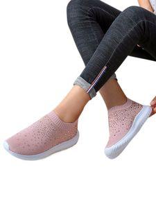 Abtel Damenmode Strass Flache Schuhe Low-Top-Sportschuhe,Farbe: Pink,Größe:38