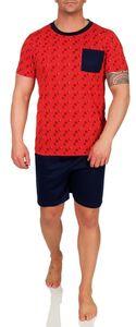Herren Pyjama Set Short + Shirt Sommer, Rot XL